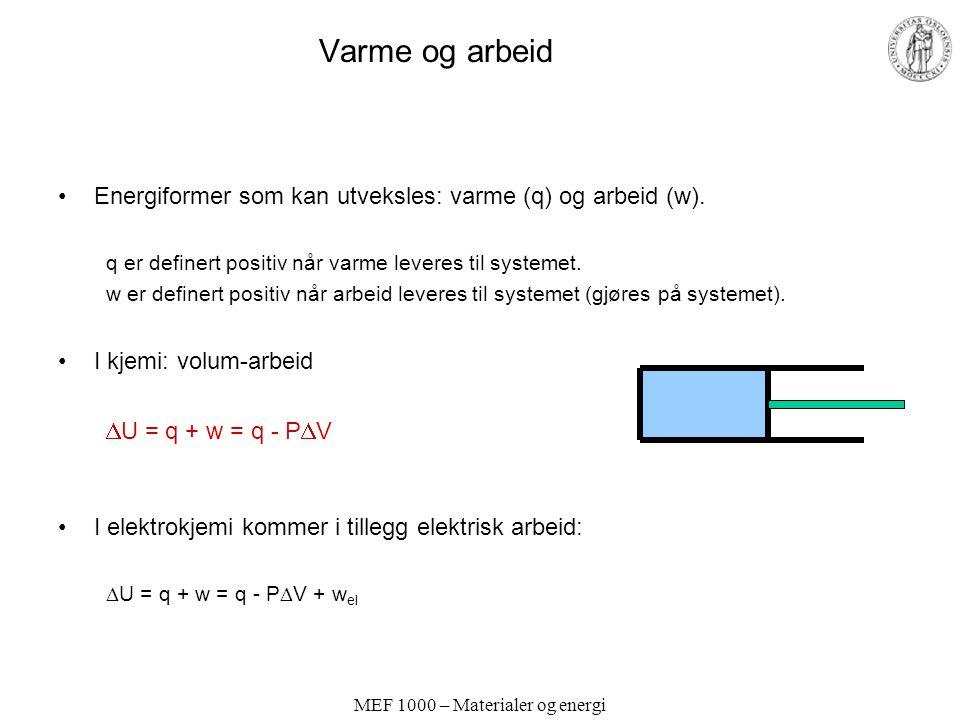 MEF 1000 – Materialer og energi Varme og arbeid Energiformer som kan utveksles: varme (q) og arbeid (w).