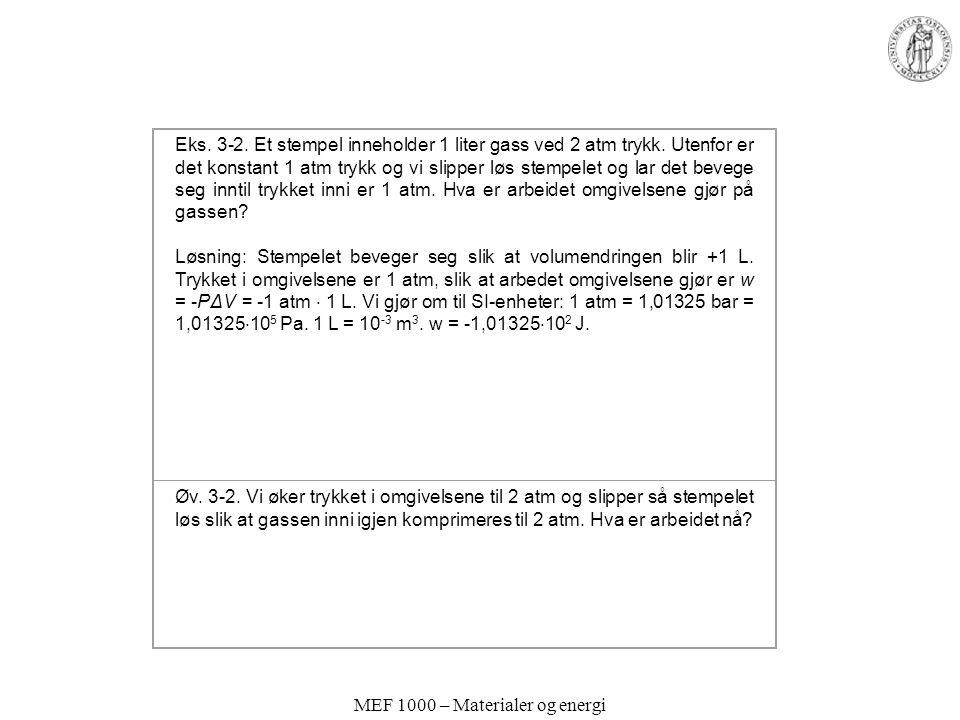 MEF 1000 – Materialer og energi Eks.3-2. Et stempel inneholder 1 liter gass ved 2 atm trykk.