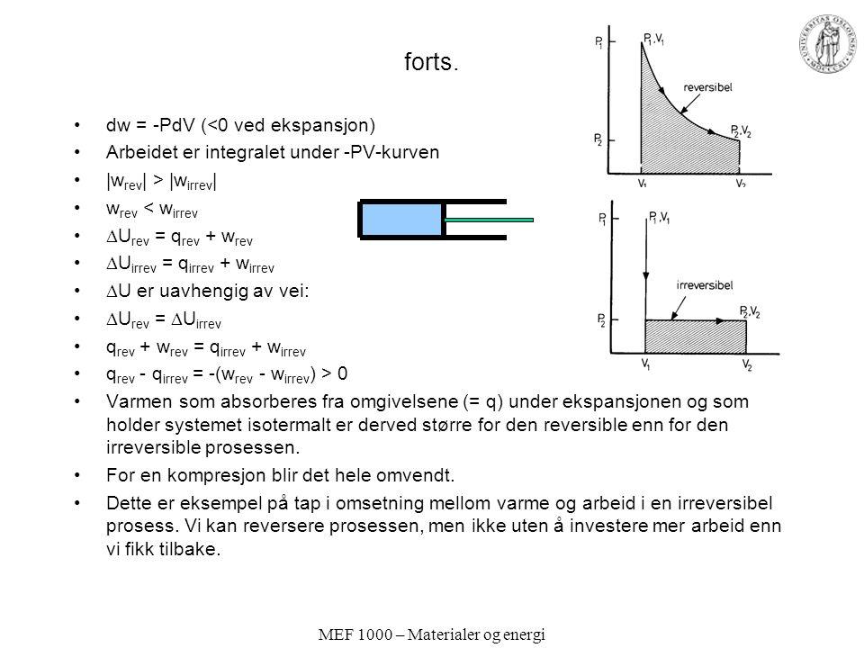 MEF 1000 – Materialer og energi forts.