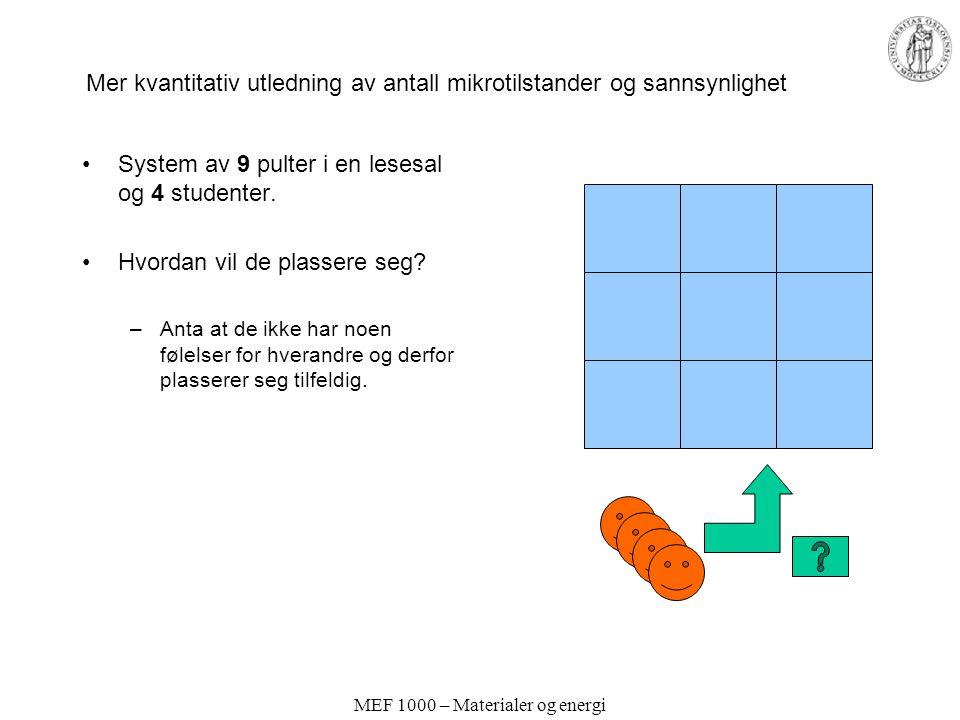 MEF 1000 – Materialer og energi Mer kvantitativ utledning av antall mikrotilstander og sannsynlighet System av 9 pulter i en lesesal og 4 studenter.