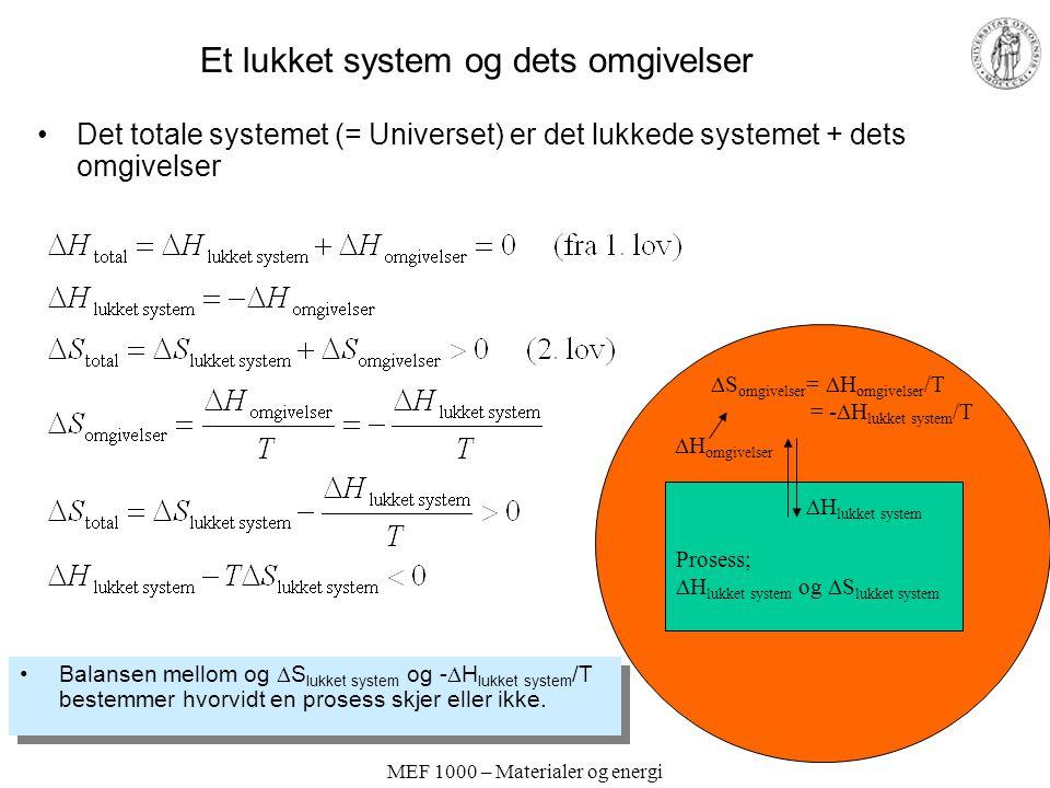 MEF 1000 – Materialer og energi Et lukket system og dets omgivelser Det totale systemet (= Universet) er det lukkede systemet + dets omgivelser Balansen mellom og  S lukket system og -  H lukket system /T bestemmer hvorvidt en prosess skjer eller ikke.