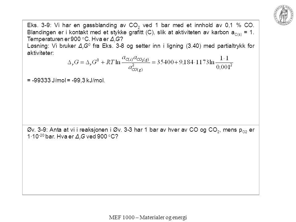 MEF 1000 – Materialer og energi Eks.