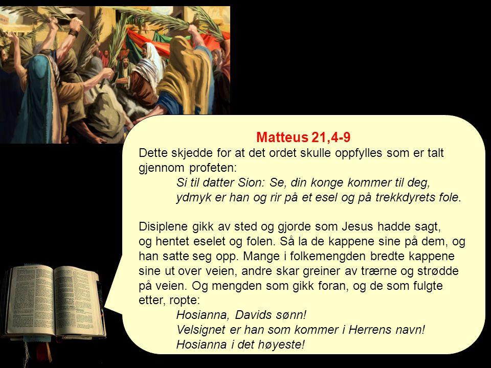 Matteus Matteus Dette skjedde for at Skriften skulle bli oppfylt… Alt dette (påsken) skjedde for at profetenes skrifter skulle oppfylles. (Mattt.26,56) * Inntoget* 30 sølvpenger * Korset * Jesu oppstandelse Matteus 21,4-9 siterer: Sakarja 9,9 Bryt ut i jubel, datter Sion.