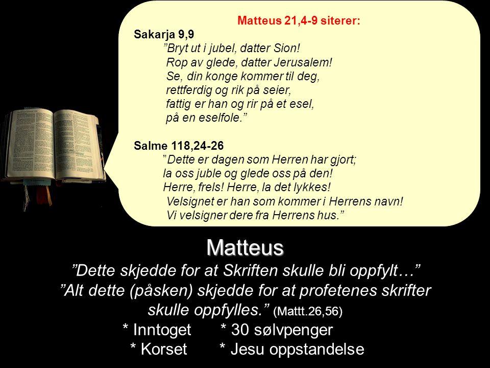 """Matteus Matteus """"Dette skjedde for at Skriften skulle bli oppfylt…"""" """"Alt dette (påsken) skjedde for at profetenes skrifter skulle oppfylles."""" (Mattt.2"""