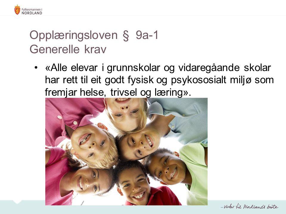 Opplæringsloven § 9a-1 Generelle krav «Alle elevar i grunnskolar og vidaregåande skolar har rett til eit godt fysisk og psykososialt miljø som fremjar helse, trivsel og læring».