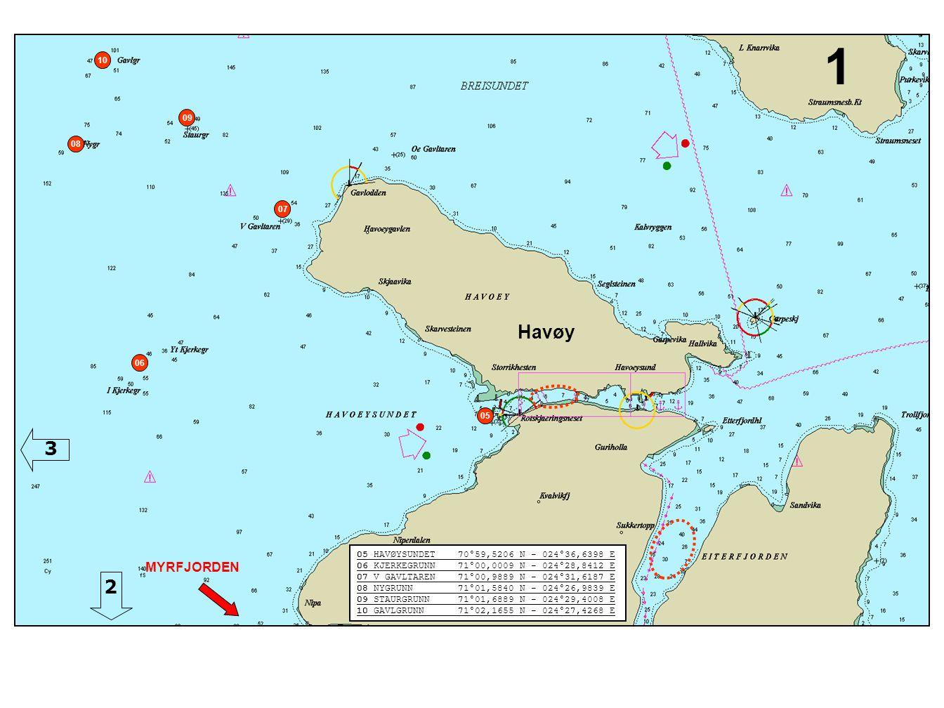 Havøy 05 HAVØYSUNDET 70°59,5206 N - 024°36,6398 E 06 KJERKEGRUNN 71°00,0009 N - 024°28,8412 E 07 V GAVLTAREN 71°00,9889 N - 024°31,6187 E 08 NYGRUNN 7