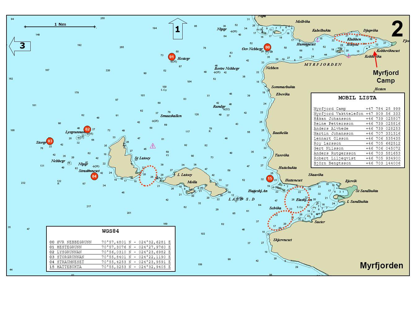 Myrfjorden 2 WGS84 00 ØVR NEBBEGRUNN 70°57,4801 N - 024°32,6281 E 01 HESTEGRUNN 70°57,3076 N - 024°27,9760 E 02 LYSGRUNNAN 70°56,0310 N - 024°23,6982