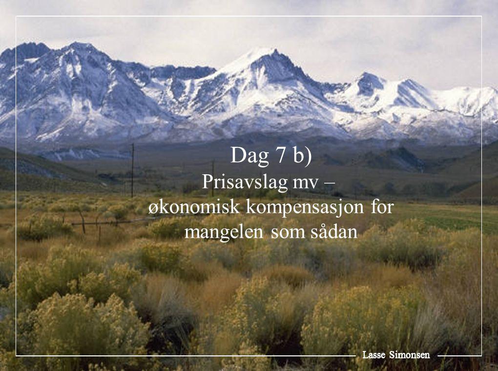 Lasse Simonsen Dag 7 b) Prisavslag mv – økonomisk kompensasjon for mangelen som sådan Lasse Simonsen