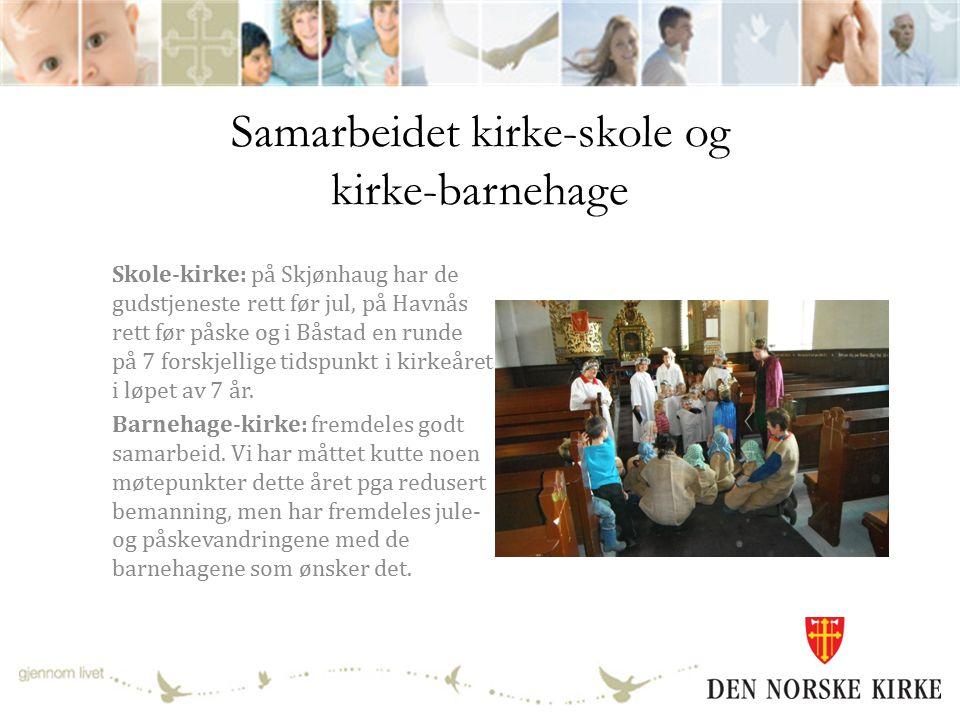 Samarbeidet kirke-skole og kirke-barnehage Skole-kirke: på Skjønhaug har de gudstjeneste rett før jul, på Havnås rett før påske og i Båstad en runde på 7 forskjellige tidspunkt i kirkeåret i løpet av 7 år.