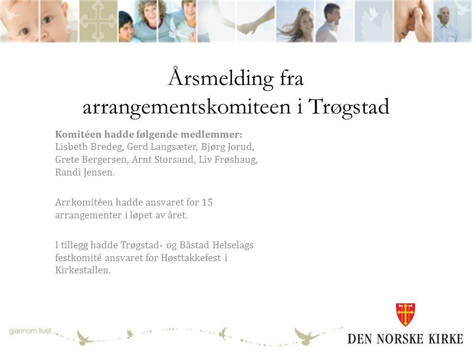 Årsmelding fra arrangementskomiteen i Trøgstad Komitéen hadde følgende medlemmer: Lisbeth Bredeg, Gerd Langsæter, Bjørg Jorud, Grete Bergersen, Arnt Storsand, Liv Frøshaug, Randi Jensen.