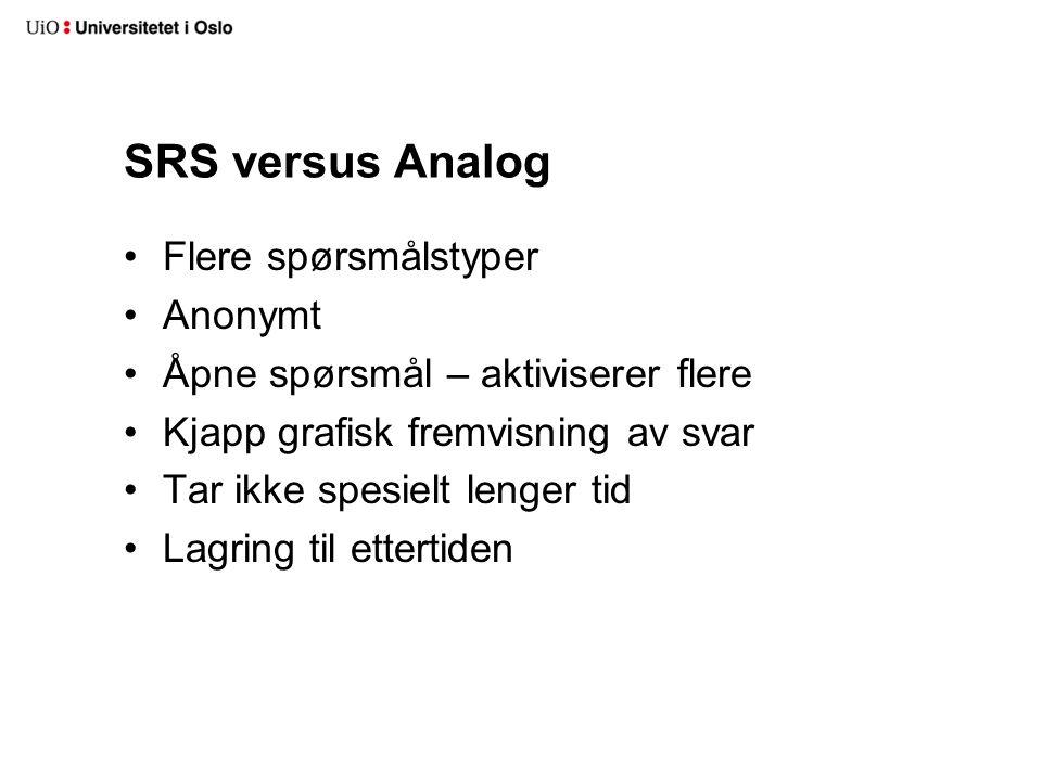SRS versus Analog Flere spørsmålstyper Anonymt Åpne spørsmål – aktiviserer flere Kjapp grafisk fremvisning av svar Tar ikke spesielt lenger tid Lagring til ettertiden