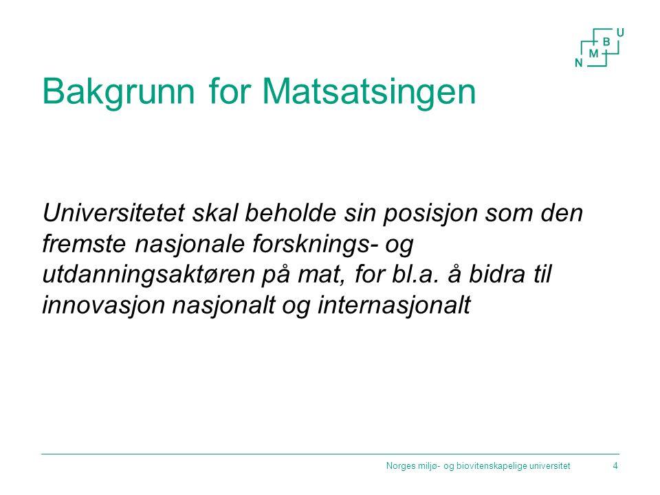 Bakgrunn for Matsatsingen Universitetet skal beholde sin posisjon som den fremste nasjonale forsknings- og utdanningsaktøren på mat, for bl.a.