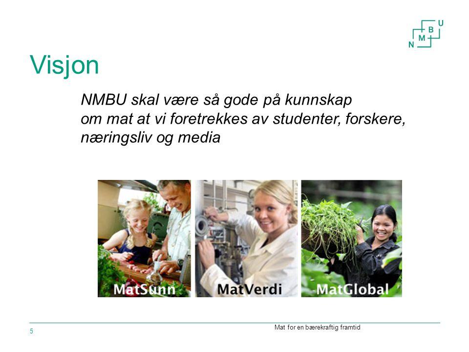 Visjon Mat for en bærekraftig framtid 5 NMBU skal være så gode på kunnskap om mat at vi foretrekkes av studenter, forskere, næringsliv og media