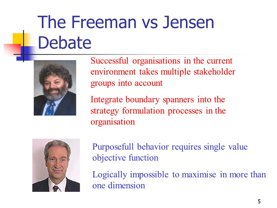 5 The Freeman vs Jensen Debate Purposefull behavior requires single value objective function Logically impossible to maximise in more than one dimensi