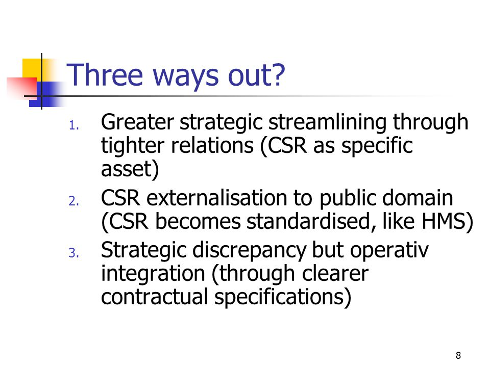 8 Three ways out? 1. Greater strategic streamlining through tighter relations (CSR as specific asset) 2. CSR externalisation to public domain (CSR bec