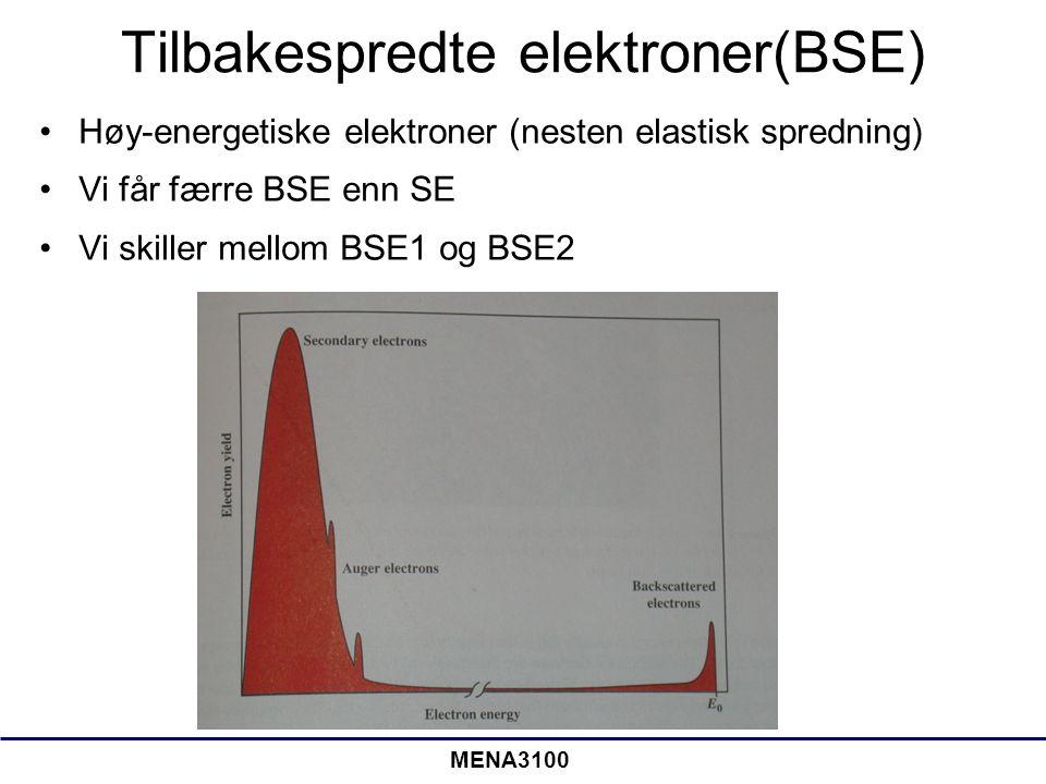 MENA3100 Tilbakespredte elektroner(BSE) Høy-energetiske elektroner (nesten elastisk spredning) Vi får færre BSE enn SE Vi skiller mellom BSE1 og BSE2