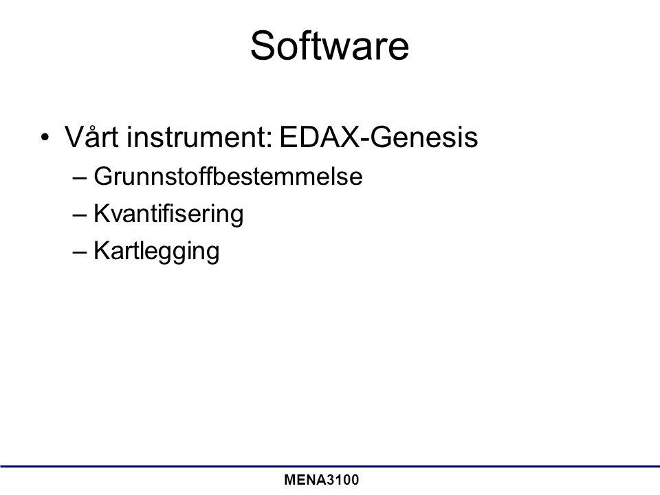 Software Vårt instrument: EDAX-Genesis –Grunnstoffbestemmelse –Kvantifisering –Kartlegging MENA3100