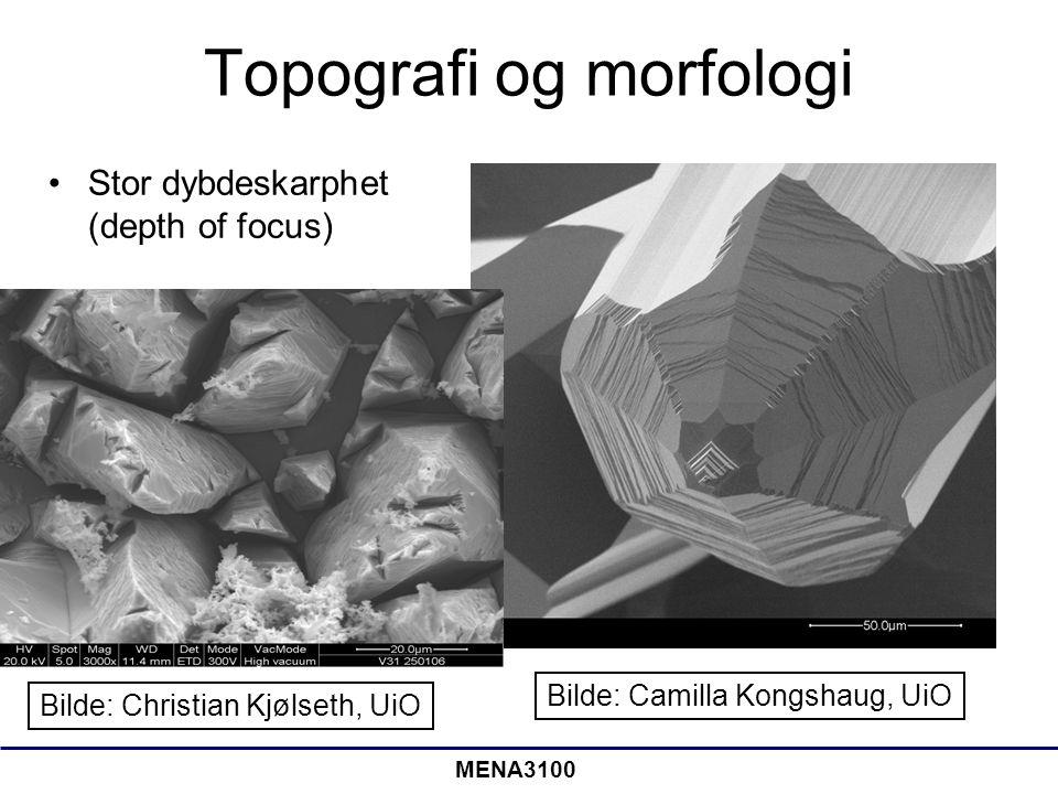 MENA3100 Topografi og morfologi Stor dybdeskarphet (depth of focus) Bilde: Camilla Kongshaug, UiO Bilde: Christian Kjølseth, UiO
