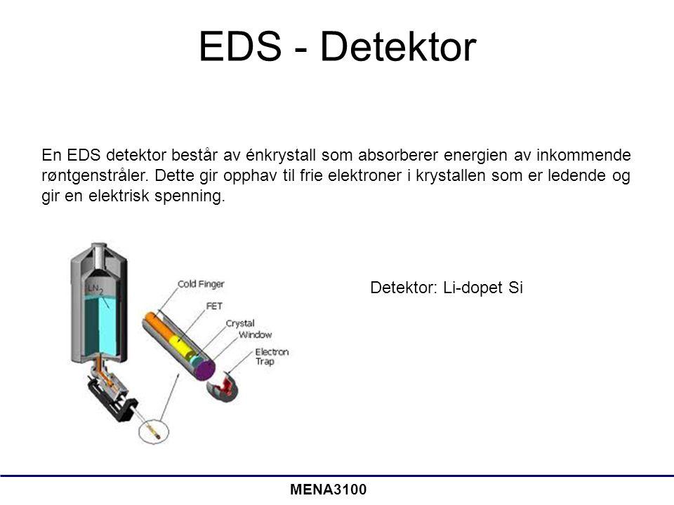 EDS - Detektor En EDS detektor består av énkrystall som absorberer energien av inkommende røntgenstråler. Dette gir opphav til frie elektroner i kryst