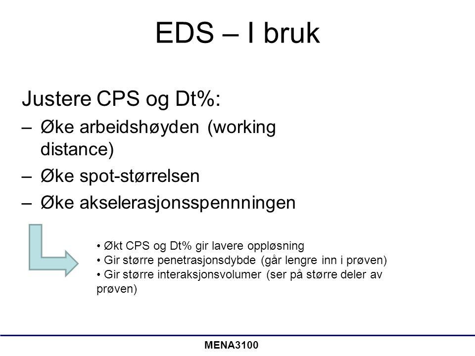 EDS – I bruk Justere CPS og Dt%: –Øke arbeidshøyden (working distance) –Øke spot-størrelsen –Øke akselerasjonsspennningen Økt CPS og Dt% gir lavere op