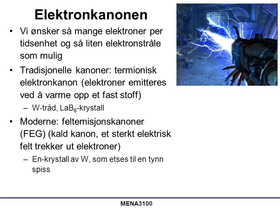 MENA3100 Elektronkanonen Vi ønsker så mange elektroner per tidsenhet og så liten elektronstråle som mulig Tradisjonelle kanoner: termionisk elektronka