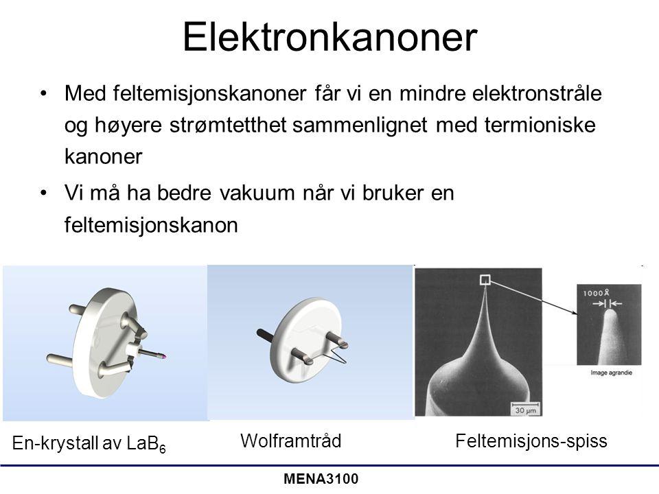 MENA3100 Elektronkanoner Med feltemisjonskanoner får vi en mindre elektronstråle og høyere strømtetthet sammenlignet med termioniske kanoner Vi må ha