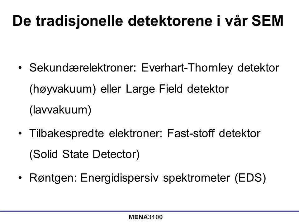 MENA3100 De tradisjonelle detektorene i vår SEM Sekundærelektroner: Everhart-Thornley detektor (høyvakuum) eller Large Field detektor (lavvakuum) Tilb