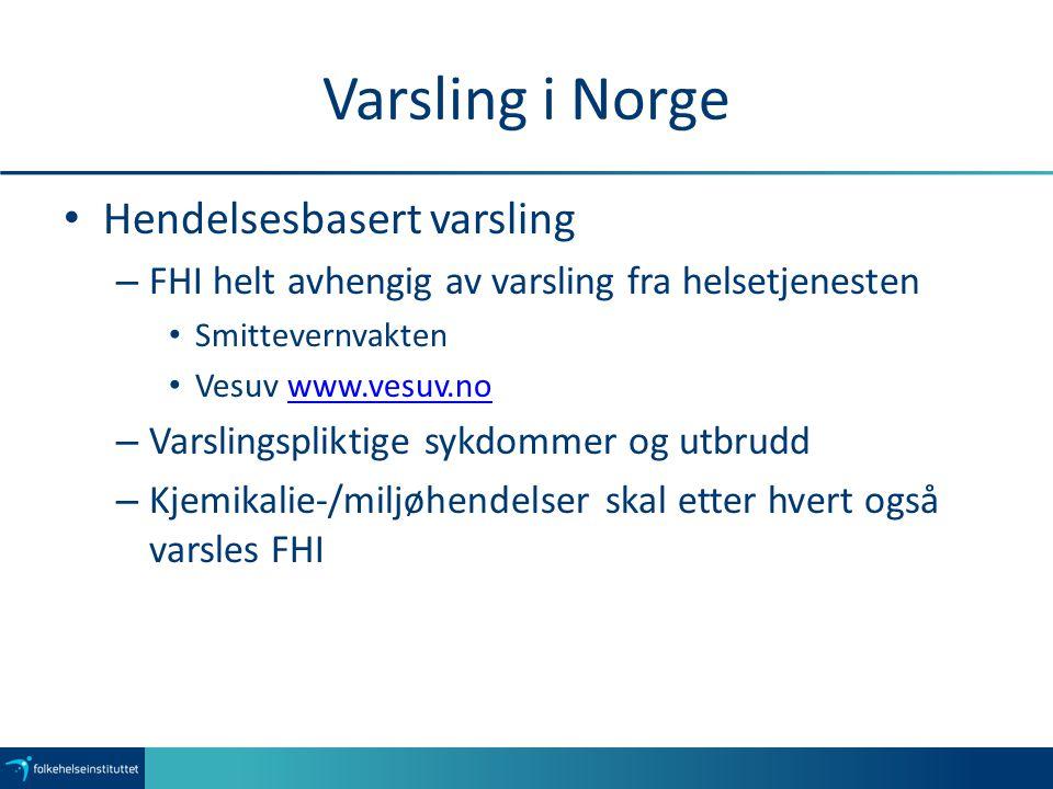 Varsling i Norge Hendelsesbasert varsling – FHI helt avhengig av varsling fra helsetjenesten Smittevernvakten Vesuv www.vesuv.nowww.vesuv.no – Varslin