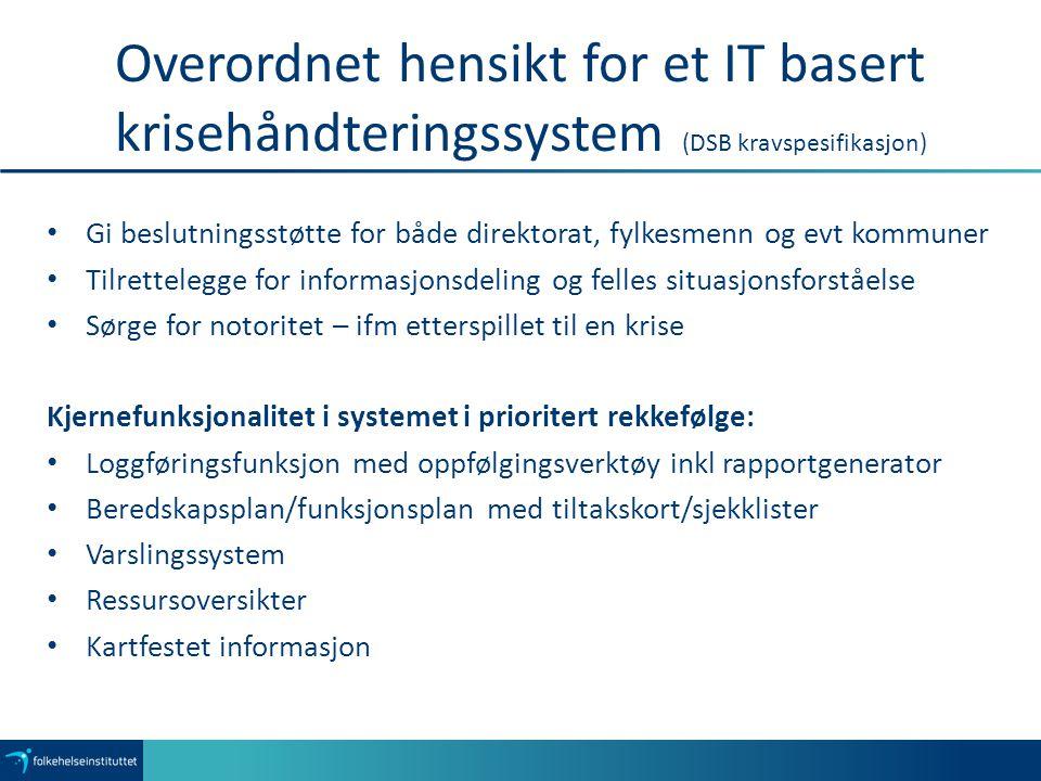 Overordnet hensikt for et IT basert krisehåndteringssystem (DSB kravspesifikasjon) Gi beslutningsstøtte for både direktorat, fylkesmenn og evt kommune