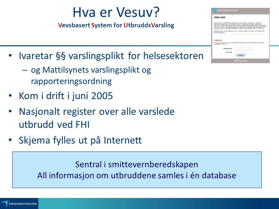 Hva er Vesuv? Vevsbasert System for UtbruddsVarsling Ivaretar §§ varslingsplikt for helsesektoren – og Mattilsynets varslingsplikt og rapporteringsord