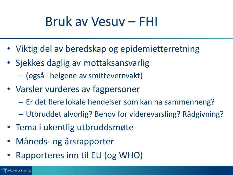 Bruk av Vesuv – FHI Viktig del av beredskap og epidemietterretning Sjekkes daglig av mottaksansvarlig – (også i helgene av smittevernvakt) Varsler vur
