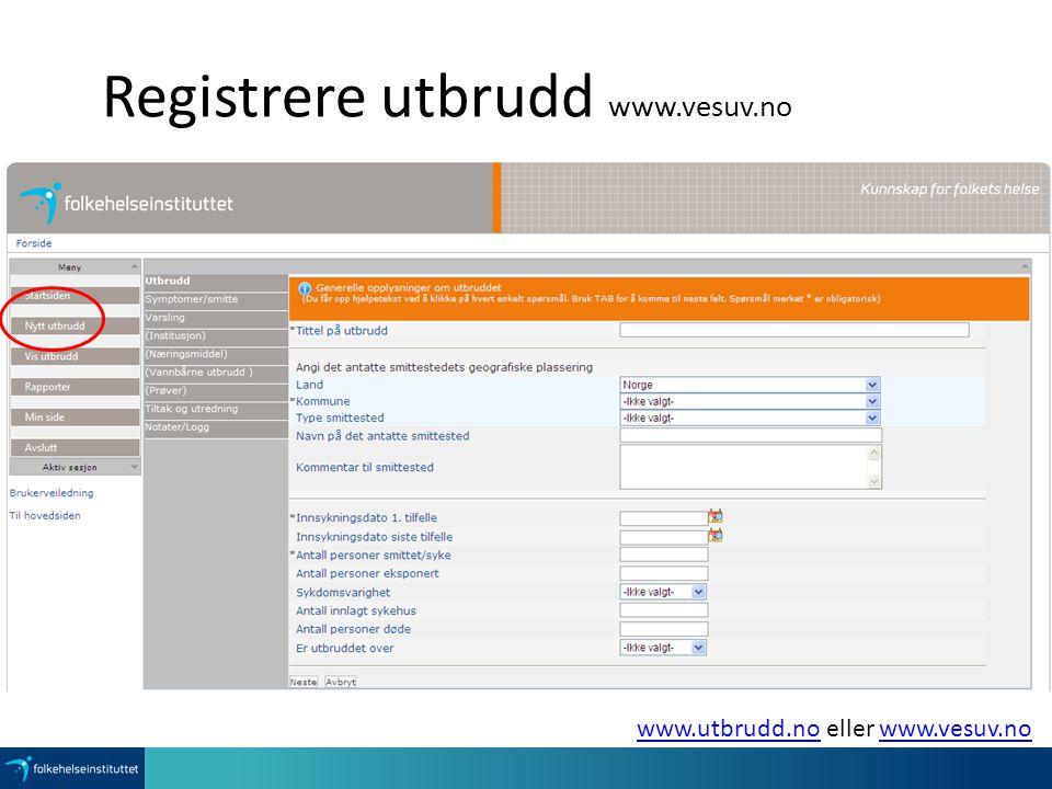 Registrere utbrudd www.vesuv.no www.utbrudd.nowww.utbrudd.no eller www.vesuv.nowww.vesuv.no