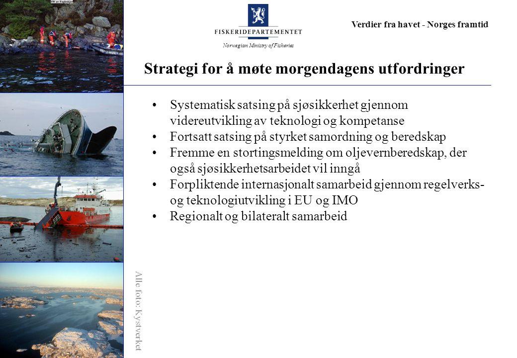 Norwegian Ministry of Fisheries Verdier fra havet - Norges framtid Systematisk satsing på sjøsikkerhet gjennom videreutvikling av teknologi og kompetanse Fortsatt satsing på styrket samordning og beredskap Fremme en stortingsmelding om oljevernberedskap, der også sjøsikkerhetsarbeidet vil inngå Forpliktende internasjonalt samarbeid gjennom regelverks- og teknologiutvikling i EU og IMO Regionalt og bilateralt samarbeid Strategi for å møte morgendagens utfordringer Alle foto: Kystverket