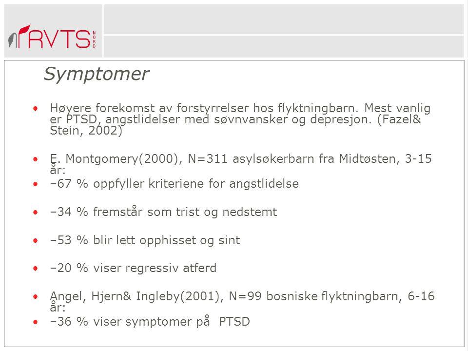 Symptomer Høyere forekomst av forstyrrelser hos flyktningbarn.