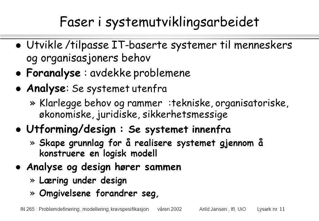 IN 265 : Problemdefinering, modellering, kravspesifikasjon våren 2002 Arild Jansen, IfI, UiO Lysark nr. 11 Faser i systemutviklingsarbeidet l Utvikle