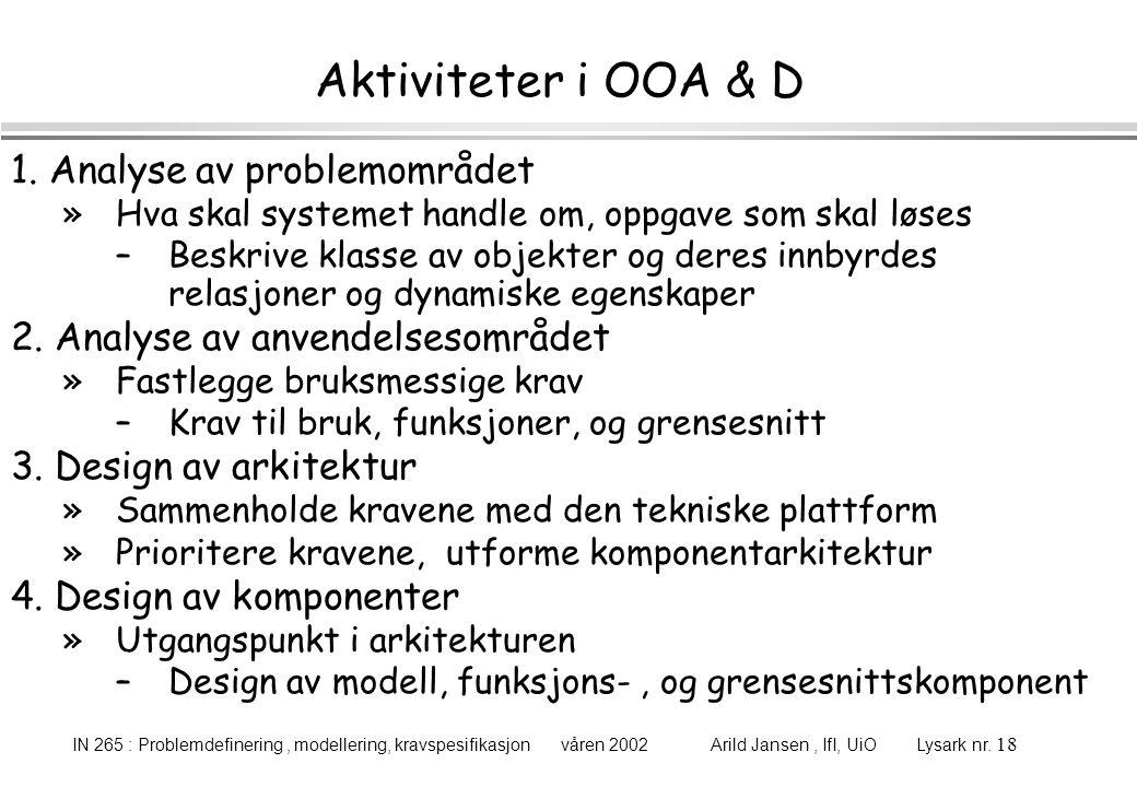 IN 265 : Problemdefinering, modellering, kravspesifikasjon våren 2002 Arild Jansen, IfI, UiO Lysark nr. 18 Aktiviteter i OOA & D 1. Analyse av problem