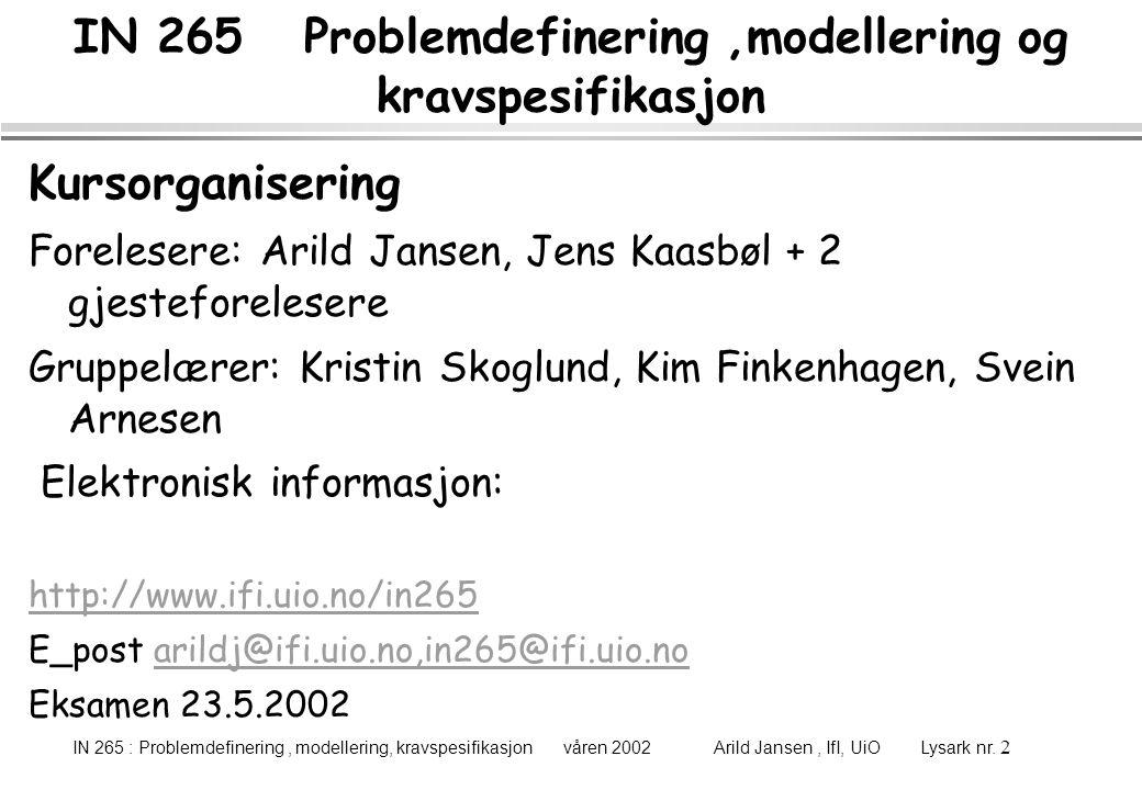 IN 265 : Problemdefinering, modellering, kravspesifikasjon våren 2002 Arild Jansen, IfI, UiO Lysark nr. 2 IN 265 Problemdefinering,modellering og krav