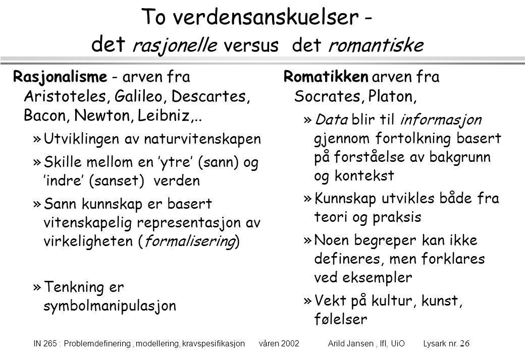 IN 265 : Problemdefinering, modellering, kravspesifikasjon våren 2002 Arild Jansen, IfI, UiO Lysark nr. 26 To verdensanskuelser - det rasjonelle versu