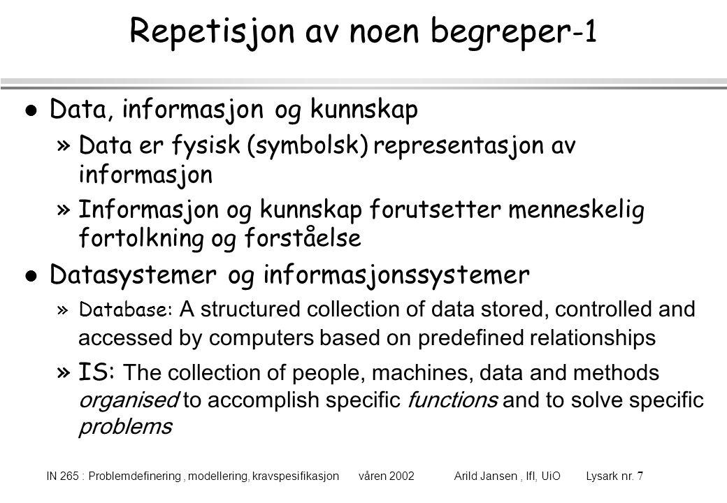 IN 265 : Problemdefinering, modellering, kravspesifikasjon våren 2002 Arild Jansen, IfI, UiO Lysark nr. 7 Repetisjon av noen begreper -1 l Data, infor