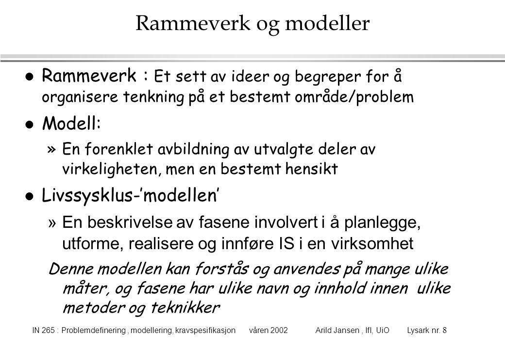 IN 265 : Problemdefinering, modellering, kravspesifikasjon våren 2002 Arild Jansen, IfI, UiO Lysark nr. 8 Rammeverk og modeller l Rammeverk : Et sett