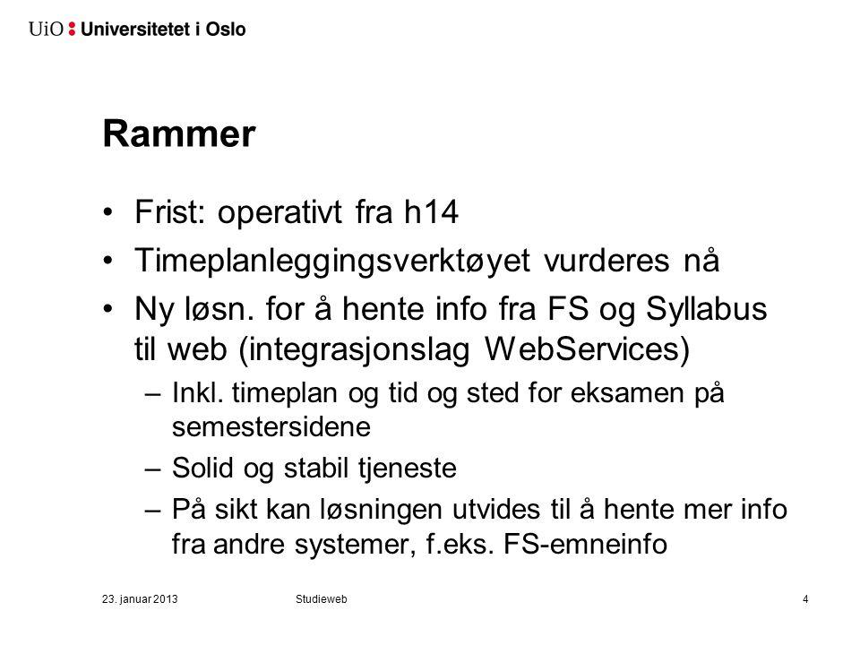 23. januar 2013Studieweb4 Rammer Frist: operativt fra h14 Timeplanleggingsverktøyet vurderes nå Ny løsn. for å hente info fra FS og Syllabus til web (