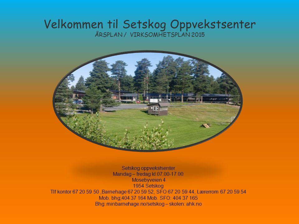 Velkommen til Setskog Oppvekstsenter ÅRSPLAN / VIRKSOMHETSPLAN 2015 Setskog oppvekstsenter Mandag – fredag kl.07.00-17.00 Mosebyveien 4 1954 Setskog T