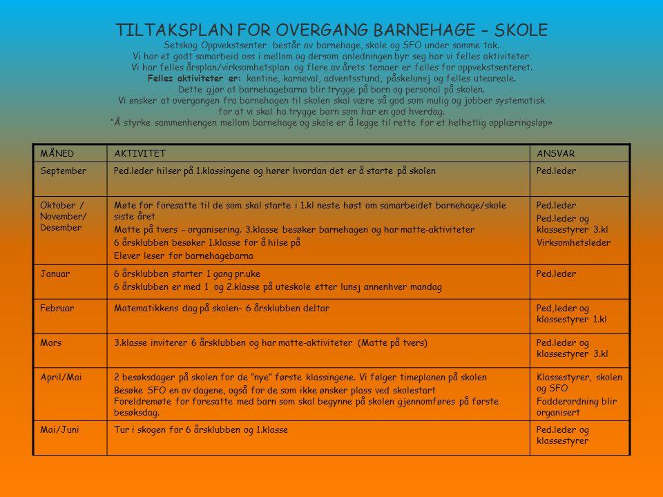 TILTAKSPLAN FOR OVERGANG BARNEHAGE – SKOLE Setskog Oppvekstsenter består av barnehage, skole og SFO under samme tak. Vi har et godt samarbeid oss i me