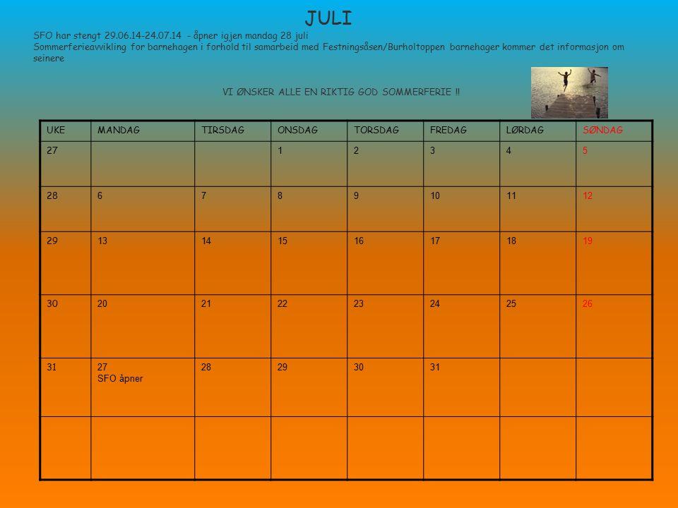 JULI SFO har stengt 29.06.14-24.07.14 - åpner igjen mandag 28 juli Sommerferieavvikling for barnehagen i forhold til samarbeid med Festningsåsen/Burho