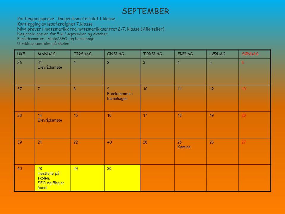 SEPTEMBER Kartleggingsprøve – Ringeriksmaterialet 1.klasse Kartlegging av leseferdighet 7.klasse Nivå prøver i matematikk fra matematikksentret 2-7. k