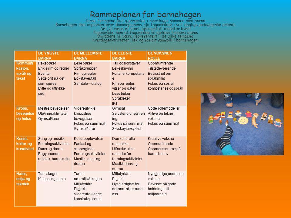 Rammeplanen for barnehagen Disse føringene skal gjenspeiles i hverdagen sammen med barna Barnehagen skal implementerer Rammeplanens sju fagområder i s
