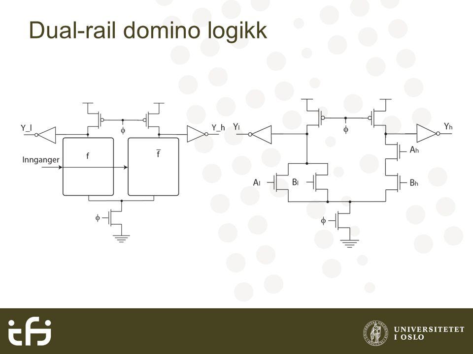 Oppgave 6.28 Tegn transistorskjema for en 3inngangs dual-rail domino OR/NOR port.
