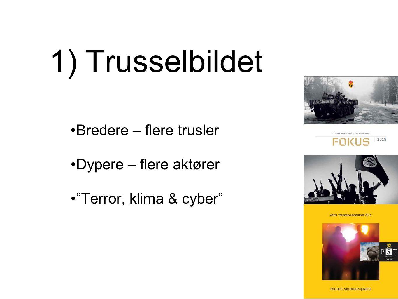 1) Trusselbildet Bredere – flere trusler Dypere – flere aktører Terror, klima & cyber