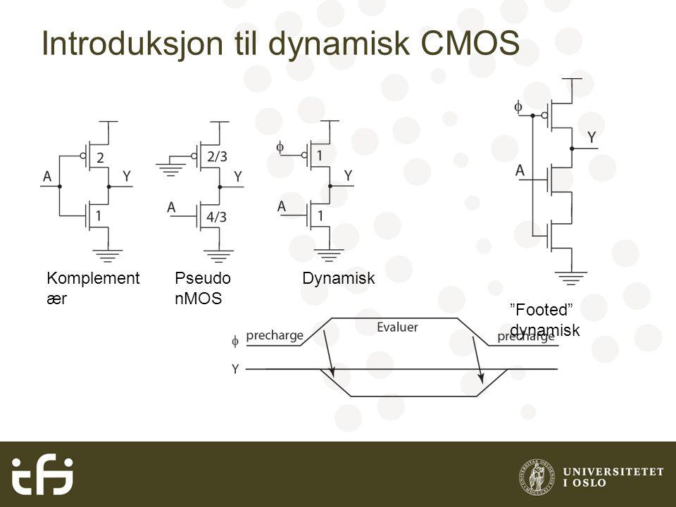 Introduksjon til dynamisk CMOS Komplement ær Pseudo nMOS Dynamisk Footed dynamisk