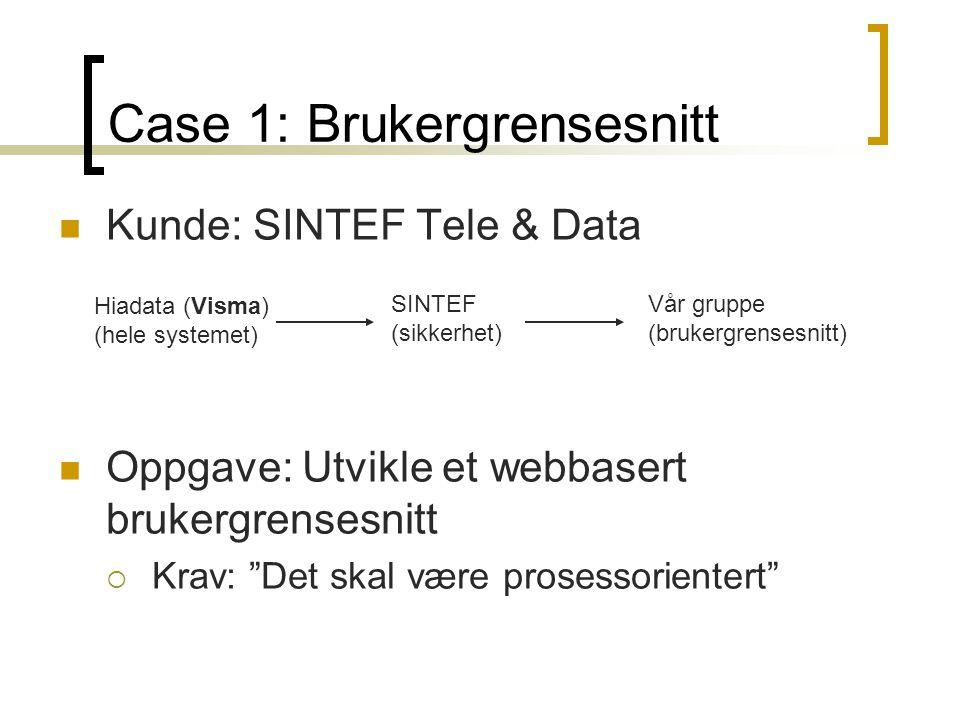 Case 1: Brukergrensesnitt Kunde: SINTEF Tele & Data Oppgave: Utvikle et webbasert brukergrensesnitt  Krav: Det skal være prosessorientert Hiadata (Visma) (hele systemet) SINTEF (sikkerhet) Vår gruppe (brukergrensesnitt)